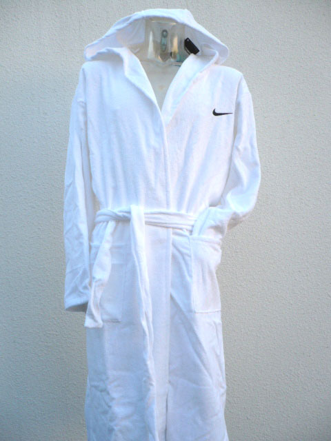 nike neu long pool robe bademantel kapuze frottee weiss gr xl ebay. Black Bedroom Furniture Sets. Home Design Ideas